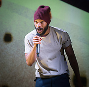 Misty <br /> by Arinzé Kene<br /> World premier <br /> at the Bush Theatre, London, Great Britain <br /> Press photocall <br /> 20th March 2018 <br />  <br /> written and performed by Arinzé Kene<br /> Directed by Omar Elerian (Bush Theatre Associate Director) <br /> Designed by Rajha Shakiry<br /> Dramaturgy by Kirsty Housely<br /> Sound design by Elena Peña<br /> Lighting design by Jackie Shemesh<br /> <br /> <br />  <br /> Arinzé Kene<br /> <br /> Arinzé delivers an epic, lyrical journey through the pulsating heart and dark soul of inner city London. An inventive blend of gig theatre, spoken word, live art and direct address, Misty confronts the assumptions and expectations underpinning the act of telling a story.<br /> <br /> Photograph by Elliott Franks