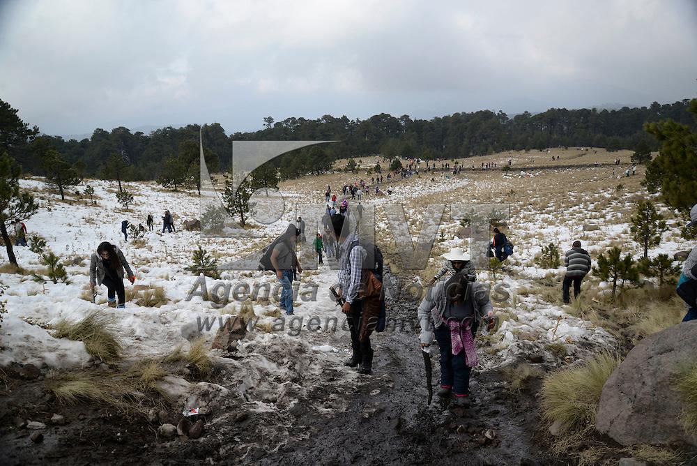 Toluca, México.- Cientos de visitantes arribaron al Nevado de Toluca en el primer día del año, a pie, caballo, o en automóvil lograron llegar hasta donde se encontraba la nieve para disfrutar de un día de descanso,  largas filas de vehículos se pudieron observar en la entrada del Parque.  Agencia MVT / Crisanta Espinosa