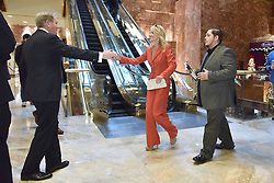 Kellyanne Conway (center), campaign manager and strategist, is seen greeting a guest in the lobby of the Trump Tower in New York, NY, on November 28, 2016. (Anthony Behar / Pool)