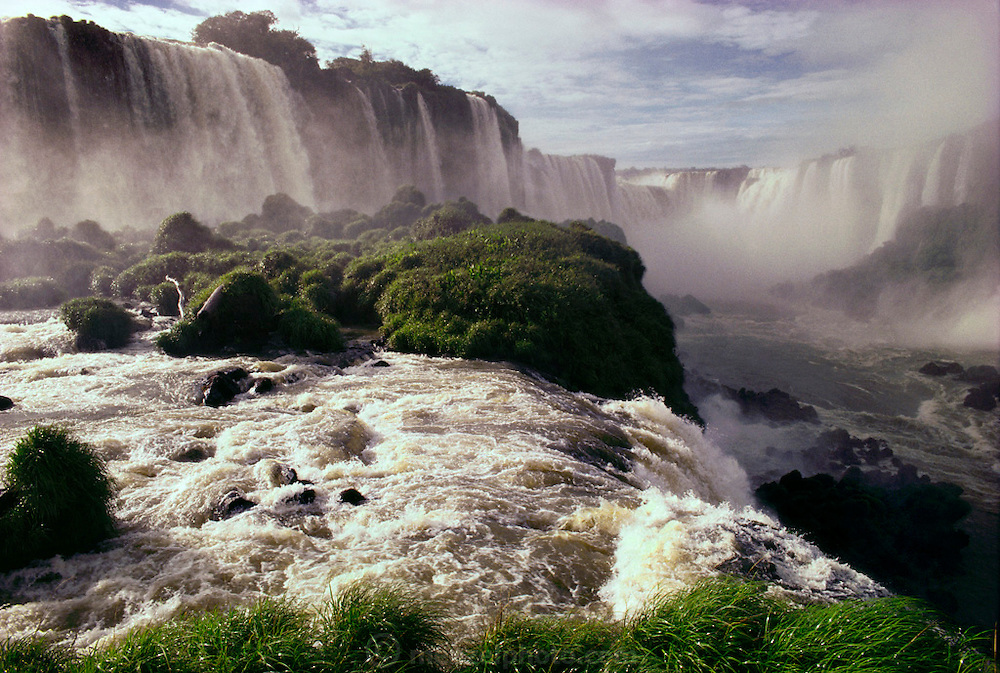 Iguazu Falls, a series of large waterfalls on the Brazil and Paraguay border with Argentina. Argentina.