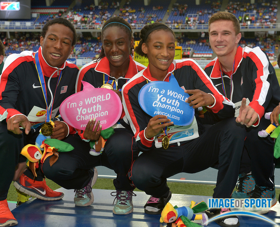 Jul 19, 2015, Cali, Columbia; Members of the United States mixed 4 x 400m relay pose after winning the during the 2015 IAAF World Youth Championships at Estadio Olimpico Pascual Guerrero.From left: Keshun Reed and Lynna Irby and Samantha Watson and Norman Grimes.