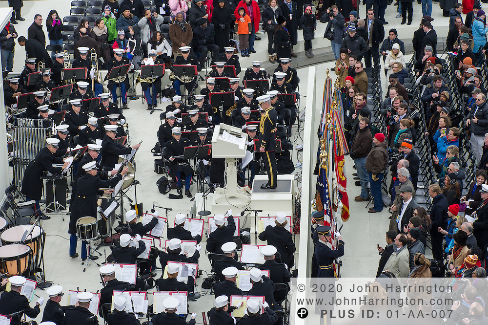 Entrance of the color guard at the beginning of the 57th Presidential Inauguration of President Barack Obama at the U.S. Capitol Building in Washington, DC January 21, 2013.