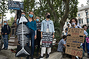 Climate activists from the Ocean Rebellion and Extinction Rebellion prepare to take part in a colourful Marine Extinction March on 6 September 2020 in London, United Kingdom. The activists, who are attending a series of September Rebellion protests around the UK, are demanding environmental protections for the oceans and calling for an end to global governmental inaction to save the seas.
