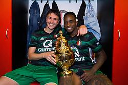 Steven Berghuis of Feyenoord, Jeremiah St. Juste of Feyenoord, cup, trophy, dressing room during the Dutch Toto KNVB Cup Final match between AZ Alkmaar and Feyenoord on April 22, 2018 at the Kuip stadium in Rotterdam, The Netherlands.