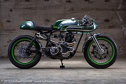"Bryan Fuller's (Fuller Moto - Atlanta, GA) 1968 Norton Commando named ""MistyGreen"" on set-up day at the Handbuilt Motorcycle Show. Austin, TX. April 9, 2015.  Photography ©2015 Michael Lichter."