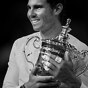 2017 U.S. Open Tennis Tournament - DAY FOURTEEN.  Rafael Nadal of Spain celebrates with the trophy after winning the Men's Singles Final defeating Kevin Anderson of South Africa at the US Open Tennis Tournament at the USTA Billie Jean King National Tennis Center on September 10, 2017 in Flushing, Queens, New York City.  (Photo by Tim Clayton/Corbis via Getty Images)
