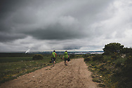 Michael and Daniel, brothers from New York State, walk toward their destination for the day, the city of Burgos. (June 11, 2018)<br />