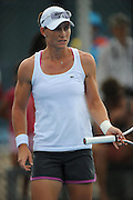 Brisbane, Australia, December 30: Sam Stosur of Australia looks angry after an unforced error during a training session on Show Court 5 at Pat Rafter Arena ahead of the 2012 Brisbane International Tennis Tournament in Brisbane, Australia on Friday December 30th, 2011. (Photo: Matt Roberts/Photo News)