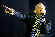 T In The Park  2008..13/07/08..Lead singer of American super group REM Michael Stipe thrills the crowd and draws this years festival to it's end, during the Third and final day of this years, T IN THE PARK  Scotland's Premier Music Festival now in it's 15th year, and still going strong since 1994. The first 3 years were held at Strathclyde Country Park, but in 1997 moved to Balado near Kinross . At This years T in the Park, Balado - By Kinross today...Picture by Mark Davison /PLPA