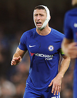 Football - 2017 / 2018 UEFA Champions League - Group C: Chelsea vs. A.S. Roma<br /> <br /> Captain, Gary Cahill of Chelsea with a bandaged head urges his team on at Stamford Bridge.<br /> <br /> COLORSPORT/ANDREW COWIE