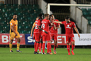 Ben Tiilney  of MK Dons © celebrates with teammates after he scores his teams 2nd goal to make it 2-2. EFL cup, 1st round match, Newport county v Milton Keynes Dons at Rodney Parade in Newport, South Wales on Tuesday 9th August 2016.<br /> pic by Andrew Orchard, Andrew Orchard sports photography.