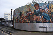 JFK mosaic mural in Digbeth on 18th January 2020 in Birmingham, United Kingdom. Digbeth is an area of Central Birmingham, England. Following the destruction of the Inner Ring Road, Digbeth is now considered a district within Birmingham City Centre. As part of the Big City Plan, Digbeth is undergoing a large redevelopment scheme that will regenerate the old industrial buildings into apartments, retail premises, offices and arts facilities. There is still however much industrial activity in the south of the area.
