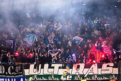 Fans of Schalke celebrate after Max Meyer of Schalke scoring a goal during football match between NK Maribor, SLO  and FC Schalke 04, GER in Group G of Group Stage of UEFA Champions League 2014/15, on December 9, 2014 in Stadium Ljudski vrt, Maribor, Slovenia. Photo by Matic Klansek Velej / Sportida