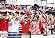 JACKSONVILLE, FL - JUNE 07:  Fans cheer during the international friendly match between the United States and Nigeria at EverBank Field on June 7, 2014 in Jacksonville, Florida.  (Photo by Mike Zarrilli/Getty Images)