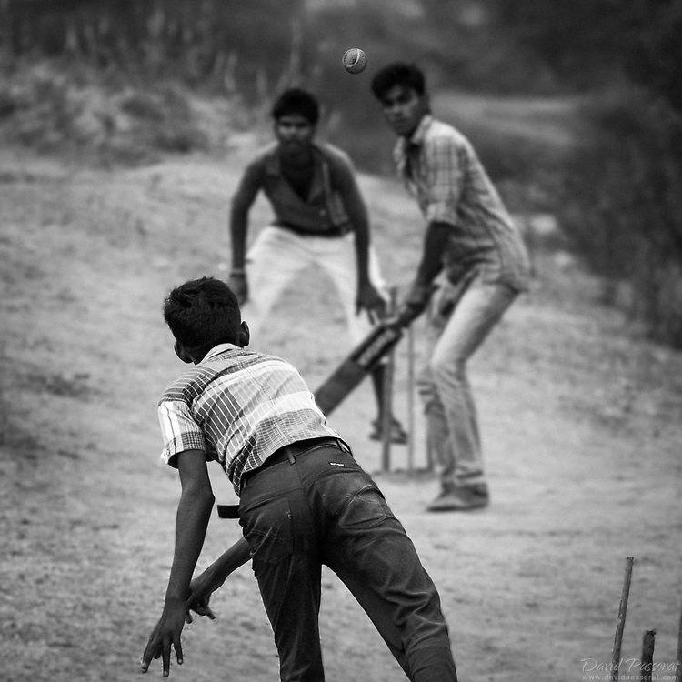 Boys playing cricket in the street