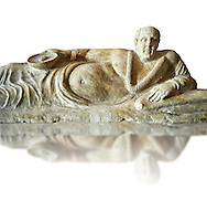 Close up of an Etruscan Hellenistic style cinerary, funreary, urn cover with a man,  National Archaeological Museum Florence, Italy, white background .<br /> <br /> If you prefer to buy from our ALAMY PHOTO LIBRARY  Collection visit : https://www.alamy.com/portfolio/paul-williams-funkystock - Scroll down and type - Etruscan Florence - into LOWER search box. (TIP - Refine search by adding a background colour as well).<br /> <br /> Visit our ETRUSCAN PHOTO COLLECTIONS for more photos to download or buy as wall art prints https://funkystock.photoshelter.com/gallery-collection/Pictures-Images-of-Etruscan-Historic-Sites-Art-Artefacts-Antiquities/C0000GgxRXWVMLyc