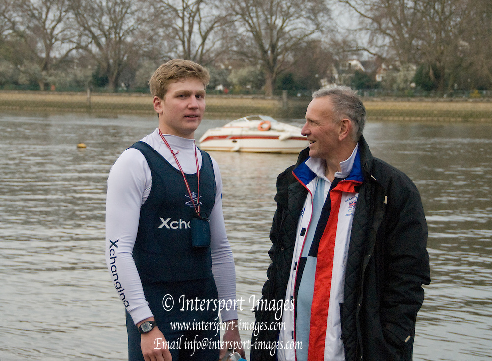 London, Great Britain.  Martin CROSS [right] chats with Constantin LOULOUDIS [left], after he stroked the Oxford, OUBC [Blue Boat] to victory over Lender Club. Pre Boat race fixture over the Championship Course  River Thames. Single race piece - Putney to Chiswick Pier.  on Saturday  12/03/2011 [Mandatory Credit; Karon Phillips/Intersport Images]..