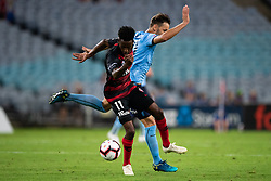 December 15, 2018 - Sydney, NSW, U.S. - SYDNEY, NSW - DECEMBER 15: Sydney FC midfielder Milos Ninkovic (10) and Western Sydney Wanderers forward Bruce KamauÊ(11) fight for the ball at the Hyundai A-League Round 8 soccer match between Western Sydney Wanderers FC and Sydney FC at ANZ Stadium in NSW, Australia on December 15, 2018. (Photo by Speed Media/Icon Sportswire) (Credit Image: © Speed Media/Icon SMI via ZUMA Press)