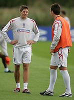Photo: Paul Thomas.<br /> England training at Carrington. 30/08/2006. <br /> <br /> Steven Gerrard (L) and  John Terry.