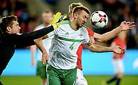 Fotball , 8 . oktober 2017 ,  VM-kvalik<br /> Norge - Nord-Irland 1-0<br /> World Cup - Qualification:: group C<br /> Norway - Northern Ireland<br /> Gareth McAuley , N-Irland