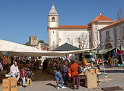 Igreja de Santa Maria da Devesa church on market day, Castelo de Vide, Alto Alentejo, Portugal, southern Europe