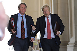 © Licensed to London News Pictures. 21/07/2020. London, UK. Prime Minister Boris Johnson and Secretary of State for Scotland Alister Jack return to Downing Street after the Cabinet meeting. Photo credit: Rob Pinney/LNP