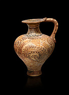 The Minoan decorated jug with elaborate design, Palaikastro,  1500-1450 BC; Heraklion Archaeological  Museum, black background .<br /> <br /> If you prefer to buy from our ALAMY PHOTO LIBRARY  Collection visit : https://www.alamy.com/portfolio/paul-williams-funkystock/minoan-art-artefacts.html . Type -   Heraklion   - into the LOWER SEARCH WITHIN GALLERY box. Refine search by adding background colour, place, museum etc<br /> <br /> Visit our MINOAN ART PHOTO COLLECTIONS for more photos to download  as wall art prints https://funkystock.photoshelter.com/gallery-collection/Ancient-Minoans-Art-Artefacts-Antiquities-Historic-Places-Pictures-Images-of/C0000ricT2SU_M9w