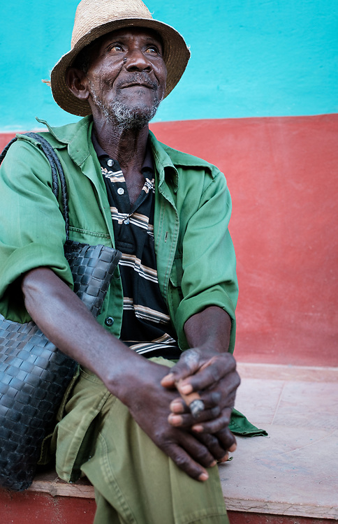 TRINIDAD, CUBA - CIRCA JANUARY 2020: Portrait of old Cuban man in the streets of Trinidad.