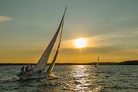 Lake Winnispesaukee sailing at sunset.  ©2016 Karen Bobotas Photgrapher