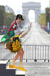 July 29, 2018 - Paris, FRANCE - Overall winner British Geraint Thomas of Team Sky leaves the podium, with the Arc de Triomphe in the background, after the last stage of the 105th edition of the Tour de France cycling race, 116km from Houilles to Paris, France, Sunday 29 July 2018. This year's Tour de France takes place from July 7th to July 29th. BELGA PHOTO DAVID STOCKMAN (Credit Image: © David Stockman/Belga via ZUMA Press)