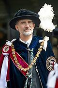 """Koning Willem Alexander wordt door Hare Majesteit Koningin Elizabeth II geïnstalleerd in de 'Most Noble Order of the Garter'. Tijdens een jaarlijkse ceremonie in St. Georgekapel, Windsor Castle, wordt hij geïnstalleerd als 'Supernumerary Knight of the Garter'.<br /> <br /> King Willem Alexander is installed by Her Majesty Queen Elizabeth II in the """"Most Noble Order of the Garter"""". During an annual ceremony in St. George's Chapel, Windsor Castle, he is installed as """"Supernumerary Knight of the Garter"""".<br /> <br /> Op de foto / On the photo:  Koning Felipe VI van Spanje / King Felipe VI of Spain"""