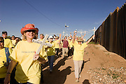 17 APRIL 2005 - NACO, AZ: Interfaith religious service against the Minuteman Project in Naco, AZ. The Minuteman Project is a volunteer effort to deter illegal immigrants from entering the US without documentation. The Minuteman volunteers call the Border Patrol when they see undocumented immigrants entering the US. Organizers claim to have thousands of volunteers signing up for the effort and they claim to reduced illegal immigration through their area by almost 100 percent and are preparing plans to extend their program to Texas, New Mexico and California. PHOTO BY JACK KURTZ