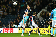 West Bromwich Albion defender Conor Townsend (3) heads the ball under pressure from Derby County forward Kamil Jozwiak (7) during the EFL Sky Bet Championship match between West Bromwich Albion and Derby County at The Hawthorns, West Bromwich, England on 14 September 2021.