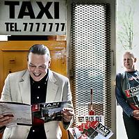 Nederland, Amsterdam , 9 augustus 2011..Taxi Joke en Nills Delzenne, makers van het taxi blad Taxi Nummer vieren het 1 jarige bestaan van het vakblad..Foto:Jean-Pierre Jans