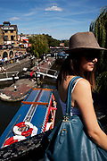 Busy summer day at Camden Lock, North London. Camden Market is a crowded hang out for young Londoners.