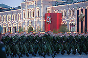 Moscow, Russia, 04/05/2010..Russian Emergency Situation troops at a night time rehearsal in Red Square for the forthcoming May 9 Victory Day parade, scheduled to be the largest for many years.