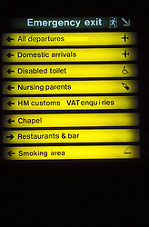 Airport information sign,