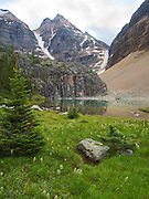 Lefroy Lake on the Lake Oesa Trail with  Glacier Peak in the background, in Yoho National Park, near Field, British Columbia, Canada; MR available