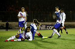 Rangers' Lassana Coulibaly (right) scores his sides second goal during the William Hill Scottish Cup fourth round match at Central Park, Cowdenbeath.