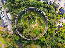 Aerial view from drone of McCaig's Tower in Oban, Argyll and Bute, Scotland, UK