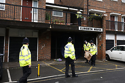 © Licensed to London News Pictures. 06/07/2021. London, UK. Police guard a crime scene at Oval Place in south London where a 16 year old boy was stabbed to death last night. Police were called at around 23:45hrs on Monday, 5 July, to a teenager stabbed in Oval Place, SW8. Officers attended along with London Ambulance Service. The 16-year-old male was pronounced dead at the scene. Photo credit: Peter Macdiarmid/LNP