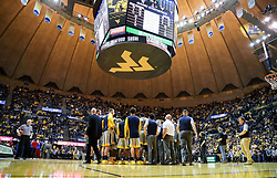 Jan 15, 2018; Morgantown, WV, USA; The West Virginia Mountaineers huddle during a timeout during the second half against the Kansas Jayhawks at WVU Coliseum. Mandatory Credit: Ben Queen-USA TODAY Sports