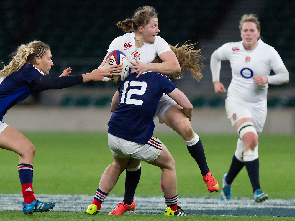 Hannah Gallagher tackled, England Women v France Women in the 6 Nations at Twickenham Stadium, Twickenham, England, on 21st March 2015
