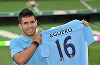 29 July 2011; New Manchester City signing Sergio Aguero holds a replica club jersey, with his name and squad number, after a press conference ahead of the Dublin Super Cup. Aviva Stadium, Lansdowne Road, Dublin.