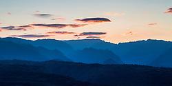 The southwestern mountains of Kauai west of Waimea Canyon at sunrise.