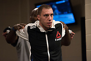 DALLAS, TX - MAY 13:  James Vick warms up in the locker room before fighting Polo Reyes during UFC 211 at the American Airlines Center on May 13, 2017 in Dallas, Texas. (Photo by Cooper Neill/Zuffa LLC/Zuffa LLC via Getty Images) *** Local Caption *** James Vick