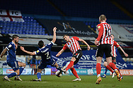 Sunderland forward Charlie Wyke (9) shoots at the goal during the EFL Sky Bet League 1 match between Ipswich Town and Sunderland at Portman Road, Ipswich, England on 26 January 2021.