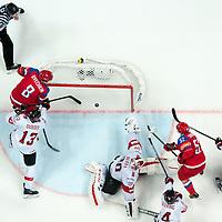 Moscow, 14.05.2016, IIHF World Championships Russia, Russia - Switzerland, Sergei Shirokov (RUS) scores a goal against Goalie Reto Berra (SUI).<br /> (Robert Hradil/RvS.Media) #RvS.Media #RobertHradil