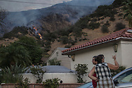 Twightlight fire fighting in Sun Valley. La Tuna Fire.