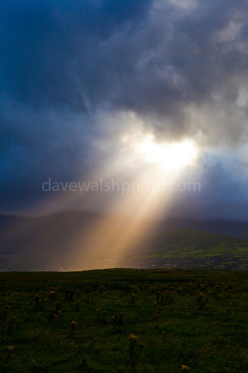 """Sunlight breaks through the clouds above Mounta Brandon, near Cloghane. Photo made on Fermoyle Beach, on the Dingle Peninsula, Ireland, This mage can be licensed via Millennium Images. Contact me for more details, or email mail@milim.com For prints, contact me, or click """"add to cart"""" to some standard print options."""
